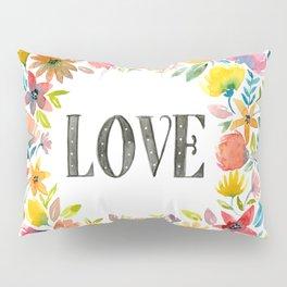 Watercolor flowers, LOVE Pillow Sham