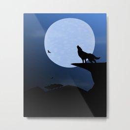 Wolf Howl Rising Moon Metal Print