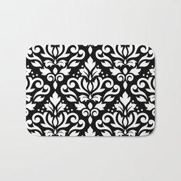 Scroll Damask Large Pattern White on Black Bath Mat
