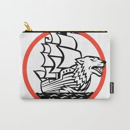 Galleon Ship Wolf on Bow Circle Retro Carry-All Pouch