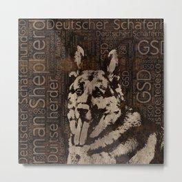German Shepherd Dog - Wooden Texture Metal Print