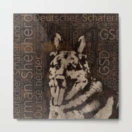German Shepherd Dog - Wooden Texture Metal Print