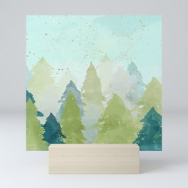Teal Abstract Gold Glitter Forest Mini Art Print
