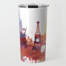 Moscow Watercolor Skyline Travel Mug
