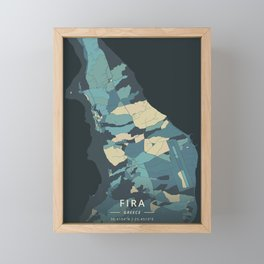 Fira, Greece - Cream Blue Framed Mini Art Print