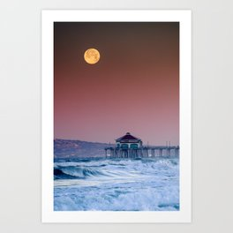 Super Blood Wolf Moonset 1-21-19 Art Print