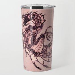 """Tsunami"" by Amber Marine ~ Sea Dragon (Coral Version) ~ Graphite Illustration, (Copyright 2005) Travel Mug"