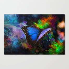 Blue Morpho Butterfly With Many Colors By Annie Zeno  Canvas Print