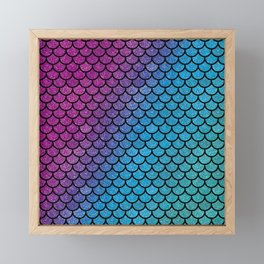 Mermaid scales colorful rainbow glitter Framed Mini Art Print