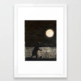 Bear and Full Moon Framed Art Print