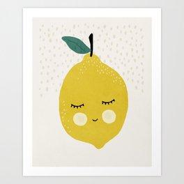Lemon, Mid century modern kids wall art, Nursery room Art Print