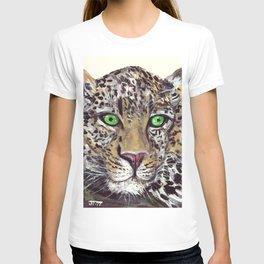 """Green-eye Leopard on 4"""" x 6"""" canvas sheet T-shirt"""