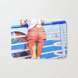 a girl on the boat Bath Mat