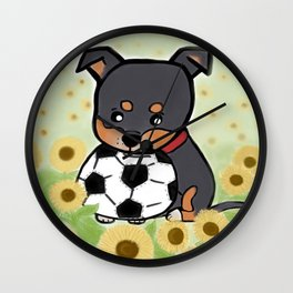 Charlie pup, Black Terrier pup Wall Clock