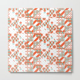 Red and mint patchwork Metal Print