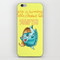leslie knope iPhone & iPod Skins featuring Leslie Knope Compliments: Chestnut-Haired Sunfish  by Shebanimal