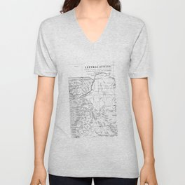 Black And White Vintage Map Of Africa Unisex V-Neck