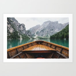 Mountain Lake with natural wood boat Art Print