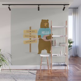 Time for music, bear Wall Mural