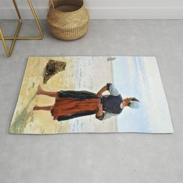 Beach scene from Bretagne. A young fisherwoman is looking at the sea - Digital Remastered Edition Rug