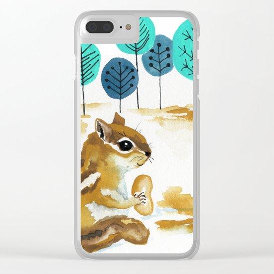 Fall Chipmunk Clear iPhone Case