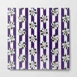 purple blue white green striped geometric floral pattern Metal Print