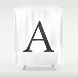 Letter A Initial Monogram Black and White Shower Curtain