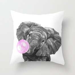 Bubble Gum Elephant Black and White Throw Pillow