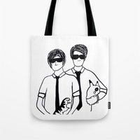 phil jones Tote Bags featuring Phil & Dan by Kath Linz