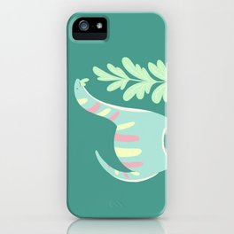 Cute Dino Eats Leaves iPhone Case
