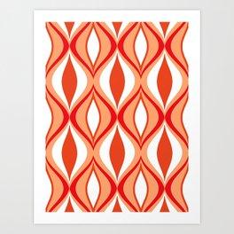 Mid-Century Modern Diamonds, Orange and White Art Print
