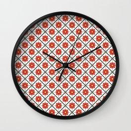 Retro Oriental Tiles Pattern - Red Wall Clock