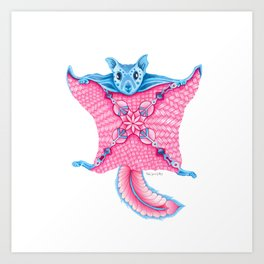 Flying Squirrel Totem Art Print
