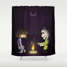 Frisk and Asriel Shower Curtain