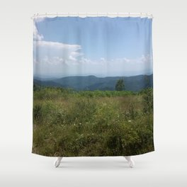 Meadow and mountains in the distance Shower Curtain