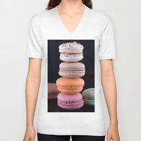 macaroons V-neck T-shirts featuring Macaroons  by Michael Moriarty Photography