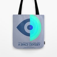 kubrick Tote Bags featuring Stanley Kubrick - 2001: A Space Odessey by MathiasLaustrup
