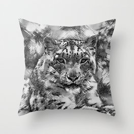 AnimalArtBW_Leopard_20170601_by_JAMColorsSpecial Throw Pillow