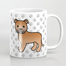Red English Staffordshire Bull Terrier Cartoon Dog Coffee Mug