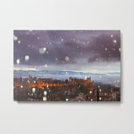 Snowstorm over the Alhambra Palace. Granada at sunset Metal Print