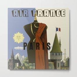 Vintage Paris Poster - Air France Metal Print