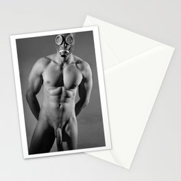 Photograph Erotic fetish style with Nude Male man wearing gasmask Stationery Cards
