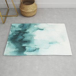 Soft teal abstract watercolor Rug