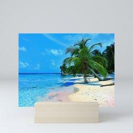 Blue Tropical Palm Beach Paradise Island Mini Art Print