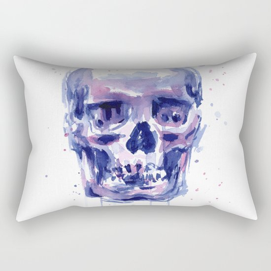 Skull Watercolor Purple Colorful Rectangular Pillow