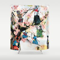 japanese Shower Curtains featuring Japanese 2  by Felicia Atanasiu