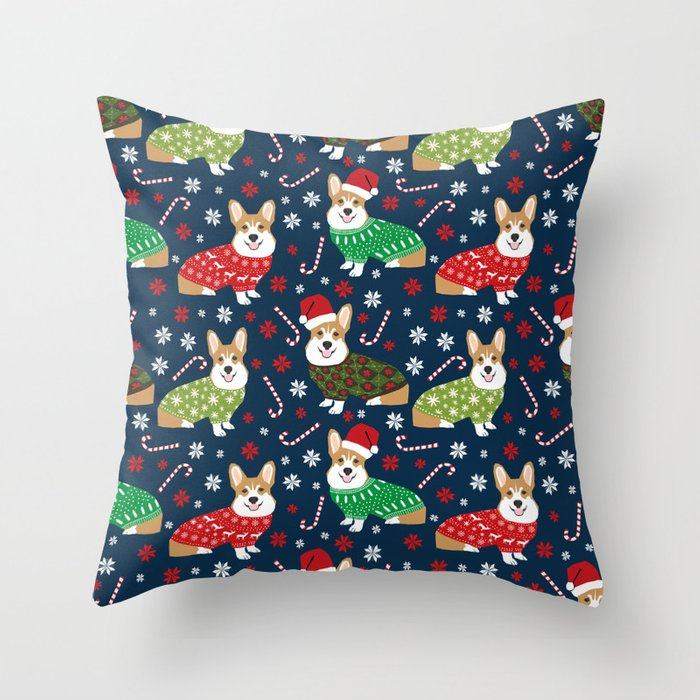 Corgi Christmas Sweaters - corgi christmas, cute corgi gift, corgi lover, christmas blanket Deko-Kissen