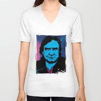 johnny cash V-neck T-shirts featuring Johnny Cash by Todd Bane