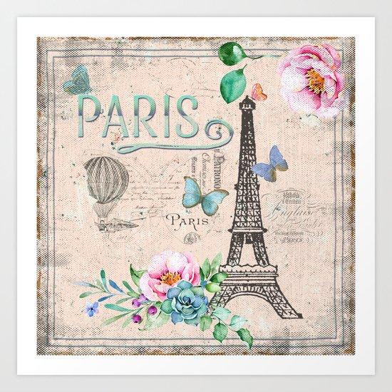 Paris - my love - France Nostalgy- pink French Vintage Art Print