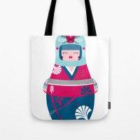 geisha Tote Bags featuring Geisha by Piktorama